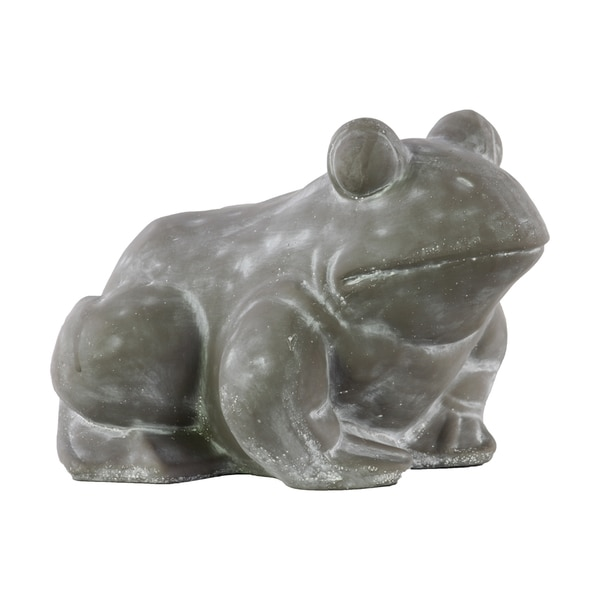 Cement Concrete Grey Finished Sitting Frog Figurine