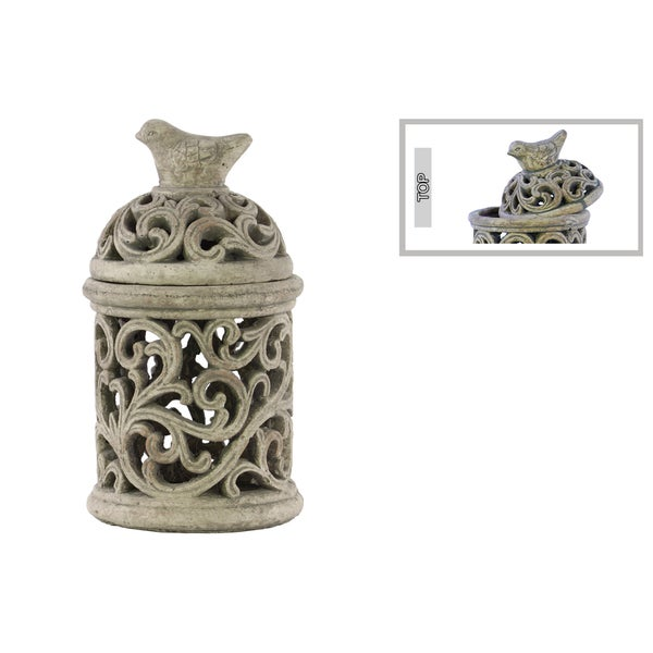 Large Cement Concrete Grey Finished Round Bird Cage with Sculpted Swirl Cutout Design