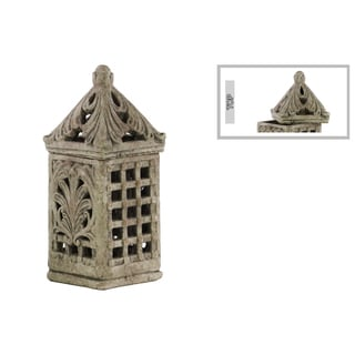 Large Cement Concrete Grey Finished Square Bird Cage with Sculpted Swirl Cutout Design