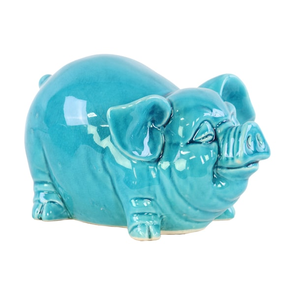 Ceramic Gloss Finish Blue Standing Pig Figurine