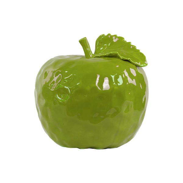 Ceramic Gloss Finish Green Large Dimpled Apple Figurine with Stem and Leaf