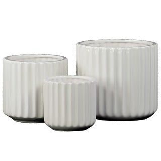 Porcelain Gloss Finish White Short Round Corrugated Flower Vases with Tapered Bottom (Set of Three)