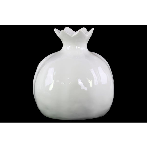 Glossy White Finish Ceramic Pomegranate Figurine Large