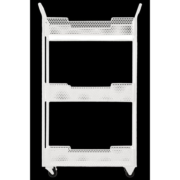 Metal Tray Stand with Mesh Design, Handles and Casters Coated Finish White