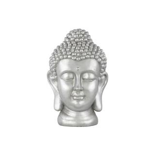 Cement Buddha Head with Bun Ushnisha Matte Finish Silver