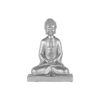 Cement Meditating Buddha Figurine with Rounded Ushnisha in Mida No Jouin Mudra on Base Matte Finish Silver
