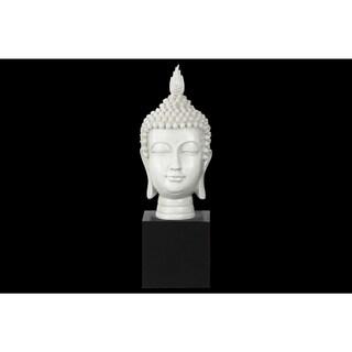 Resin Gloss Finish White Buddha Head with Pointed Ushnisha on Base
