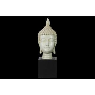 Resin Gloss Finish Cream Buddha Head with Pointed Ushnisha on Base