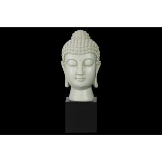 Resin Gloss Finish Cream Buddha Head with Bun Ushnisha on Base