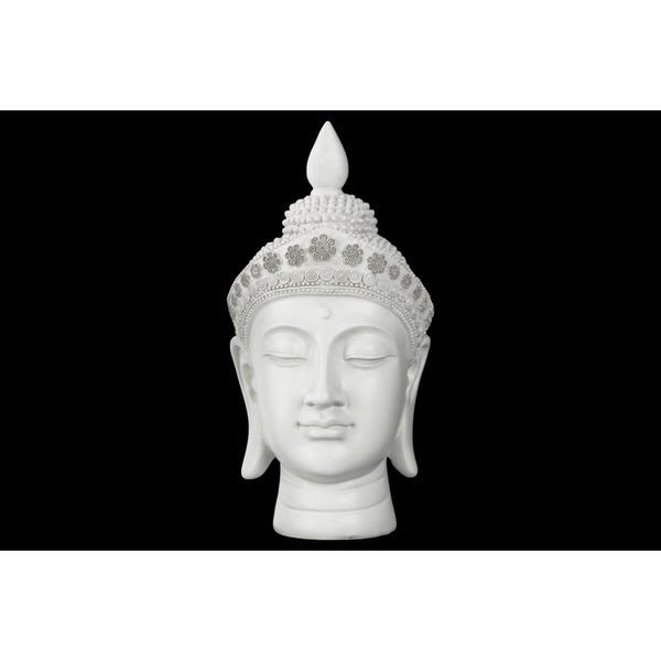 Glossy White Finish Resin Buddha Head with Pointed Ushnisha and Floral Headwear