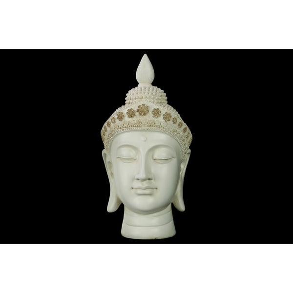 Glossy Cream Finish Resin Buddha Head with Pointed Ushnisha and Floral Headwear
