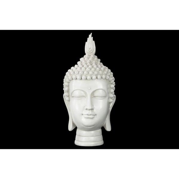 Glossy White Finish Resin Buddha Head with Pointed Ushnisha