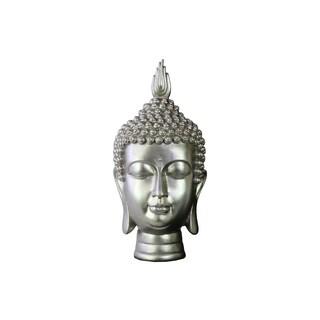 Glossy Silver Finish Resin Buddha Head with Pointed Ushnisha