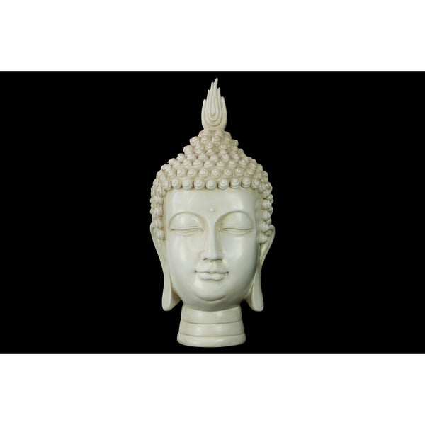 Glossy Cream Finish Resin Buddha Head with Pointed Ushnisha