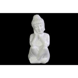 Ceramic Gloss Finish White Sitting Buddha Figurine with Rounded Ushnisha and Head on Hands