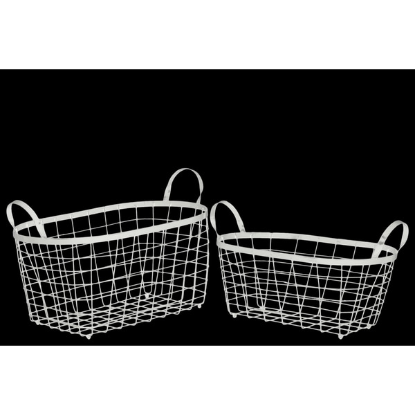 Metal Rectangular Wire Basket With Handles And Mesh Body Set Of Two
