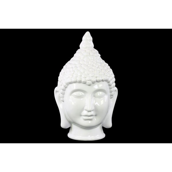 Glossy White Finish Ceramic Buddha Head with Pointed Ushnisha