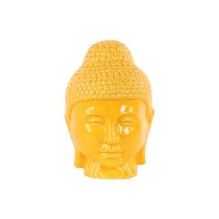 Ceramic Gloss Finish Yellow Buddha Head with Rounded Ushnisha