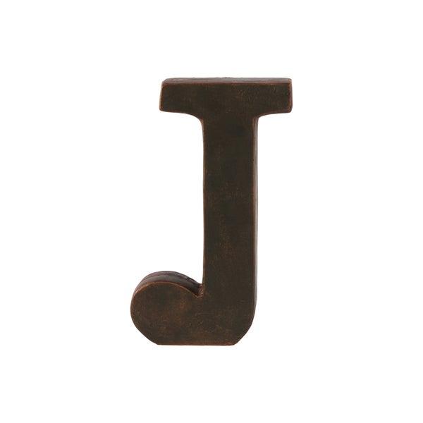 "Fiberstone Oil Rubbed Finish Dark Bronze Alphabet Tabletop Decor Letter ""J"""