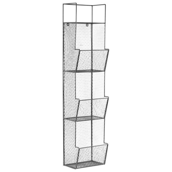 Metal Coated Finish Gun Metal Gray Wall Rack with Mesh Sides, 3 Bins and Top Shelf