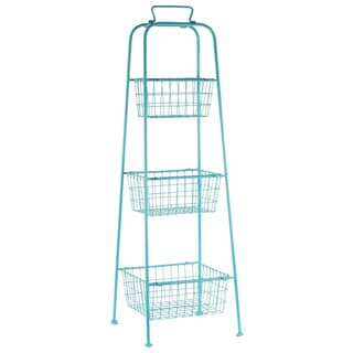 Metal Coated Finish Blue Storage Stand with Mesh Design and 3 Tiers