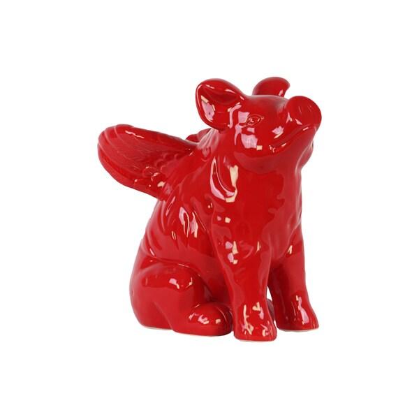 Gloss Red Ceramic Winged Pig Figurine