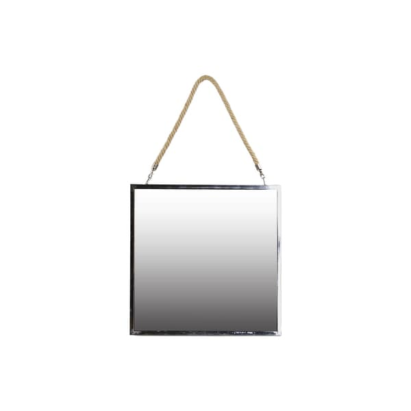 Stainless Steel Square Mirror with Rope Hanger LG Polished Chrome Finish Silver