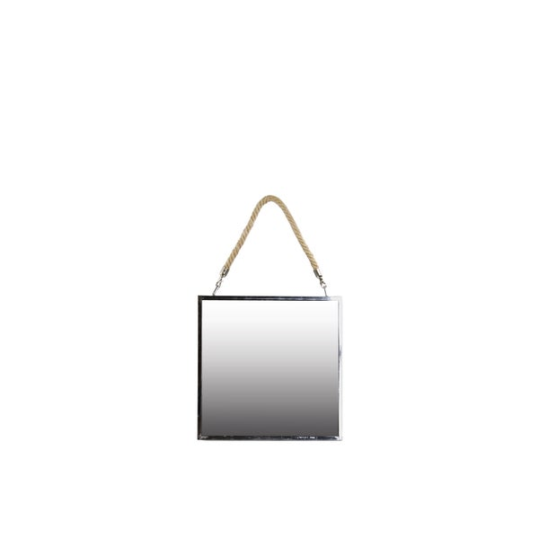 Stainless Steel Square Mirror with Rope Hanger SM Polished Chrome Finish Silver