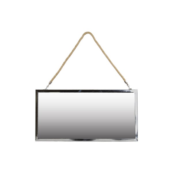 Stainless Steel Polished Chrome Finish Silver Large Rectangular Mirror with Rope Hanger