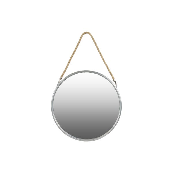 Metal Coated Finish Silver Large Round Mirror with Rope Hanger