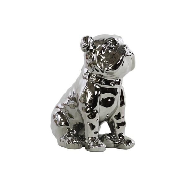 Polished Silver Chrome Finish Ceramic British Bulldog with Collar Figurine