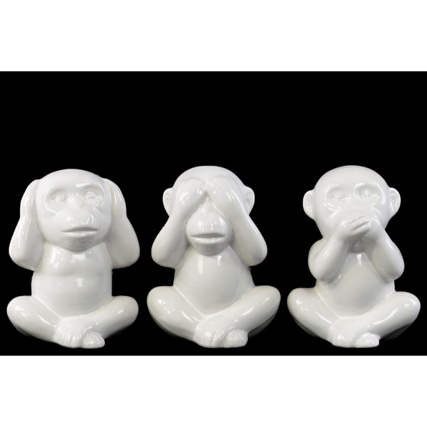 Glossy White Finish Ceramic Sitting Monkey No Evil Figurines (Set of 3)