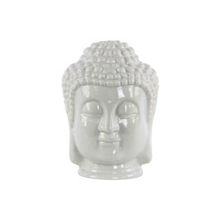 Glossy Grey Finish Ceramic Buddha Head with Beaded Ushnisha