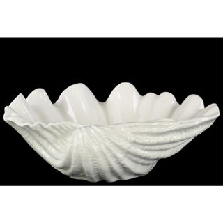 Glossy White Finish Ceramic Open Valve Clam Seashell Sculpture