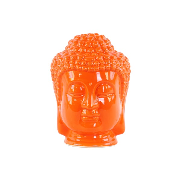 Glossy Orange Finish Ceramic Buddha Head with Beaded Ushnisha