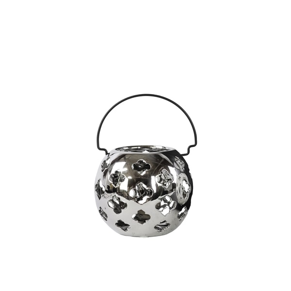 Polished Silver Chrome Finish Porcelain Spherical and Cutout Design Lantern with Metal Handle Small