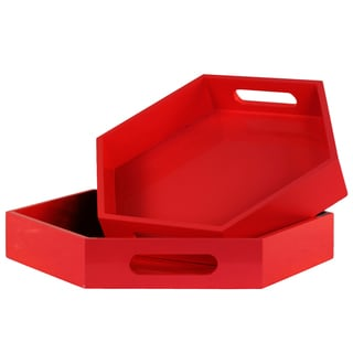 Red Coated Finish Wood Hexagonal Serving Tray with Cutout Handles (Set of 2)