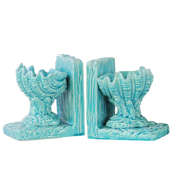 Glossy Blue Finish Ceramic Open Valve Clam Seashell on Base Bookends (Set of 2)