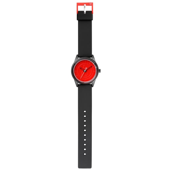 Black Unisex Solar Powered Polyurethane Red Dial Watch