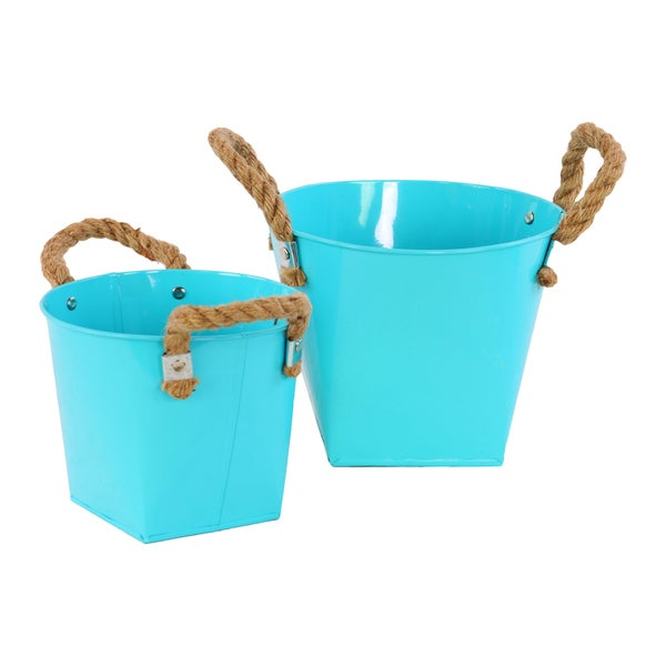Light Blue 2-piece Zinc Bucket with Rope Handles