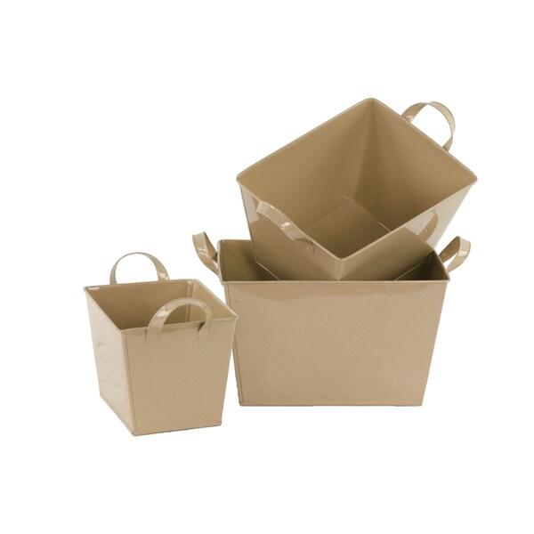 Mocha Brown Coated Finish Zinc Rectangular Buckets (Set of 3) 17009563