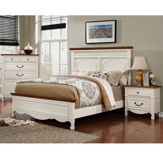 Furniture of America Ophelie Cottage Style 3-piece White Platform Bed, Chest and Nightstand Set