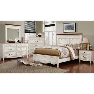 Furniture of America Ophelie Cottage Style 4-piece White Platform Bedroom Set