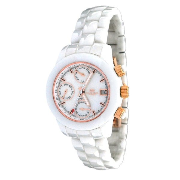 Oniss Women's Multi Function White Ceramic Watch