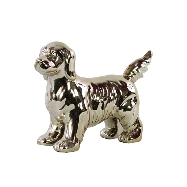 Small Polished Champagne Ceramic Standing Beagle Dog Figurine
