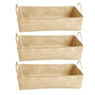 Wald Imports Seagrass-Reed Basket - Set of 3, Whitewash, 17 in