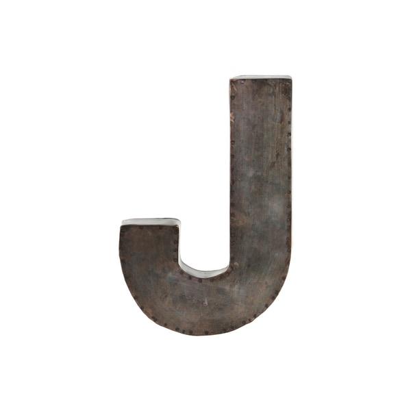 galvanized bronze metal alphabet j wall decor letter. Black Bedroom Furniture Sets. Home Design Ideas
