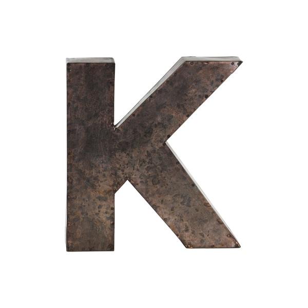 Galvanized bronze metal alphabet k wall decor letter for Letter k decoration