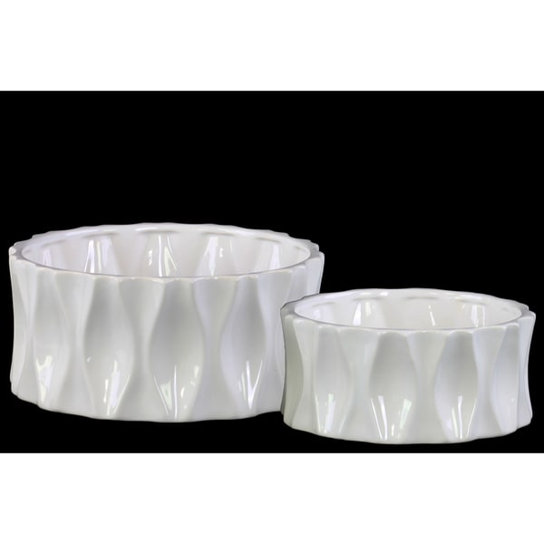 Ceramic Short Round Pot Set of Two Dimpled Gloss Finish White