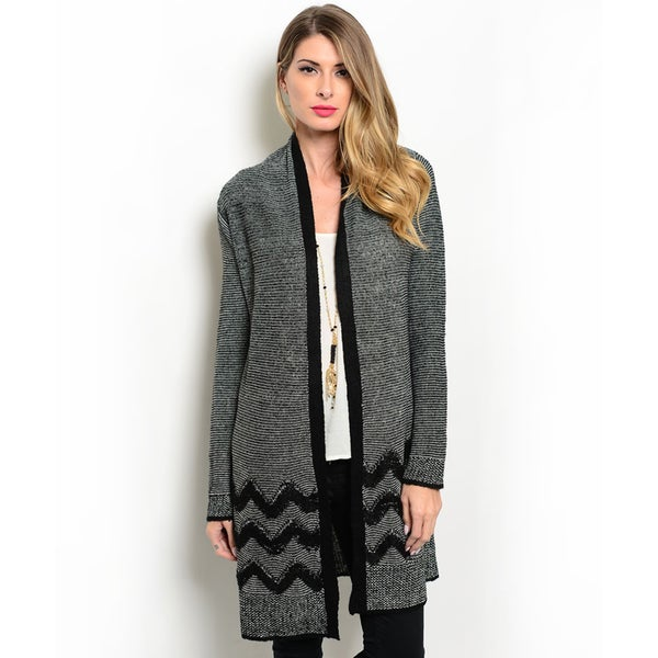 Shop the Trends Women's Long Sleeve Knit Cardigan With Contrast Colored Trim